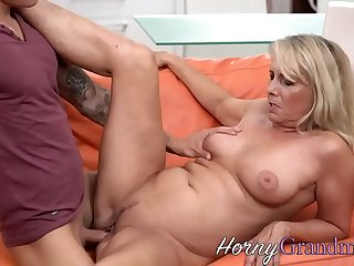Mature granny rides and sucks