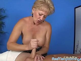 Experienced blonde floosie giving a handjob