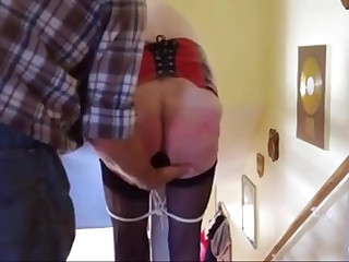 grandma lashed around a plug all over her ass