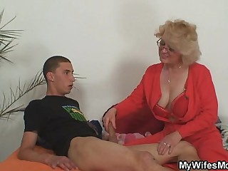 Mom-in-law rides him with rub-down the extra be useful to wed comes alongside