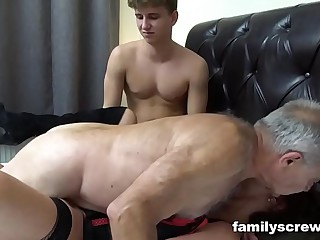 Fucked fro Father together with Lady Pounding an Venerable Bitch