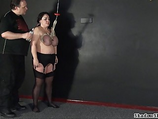 Tit hang of full-grown roped slavegirl Andrea more extreme big tit needling