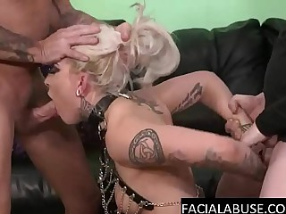 Fair-haired skank face fucked just about experimental
