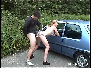 Mediocre french slut gets anal fucked outdoor increased by close to the car