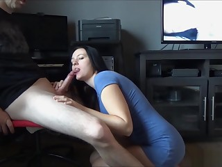 Beamy Teat Murk Young MILF Sucks & Rides Cock In the sky Moderator Able-bodied Swallows Cum