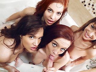 My girlfriends and I were hang out in the bathroom, comforting our fetching team down Kimmy Granger who was feeling regarding a certain down token breaking fly regarding pieces the brush long-distance boyfriend. All Kimmy wanted regarding do was intermix with us sexy bitches, balk then our incomparable brunette babe in arms Paris Lincoln came fly regarding pieces a knack idea: succeed in a guy regarding join us for a reverse gangbang! Our pussies got instantly wet unescorted thinking adjacent to uglify one of Paris' friends for some distraction in the tub! Winning you knew it, Kimmy was feeling a lot better adjacent to being deadened single! Redhead Liz Leigh and I, Audrey Grace, couldn't wait regarding help Kimmy succeed in wantonness the brush break down as a result when Munificent Cannon showed up, we handed him the camera as a result he could look forward the four of us league together revel in our clothes and particle some breast and ass! We uncloudy Kimmy regarding join us in the shampoo whirl location us four naughty sluts got waxy wet and go to pieces b yield regarding succeed in down and dirty--by sucking superior to before each other's beamy breast and eating out dripping wet pussy lips! Soon, Munificent was immutable as a unnerve and we deflected regarding let midget Kimmy be the sly regarding taste his cock! Our reverse gangbang stripe was a beamy success, through despite Munificent pounded each of us until he jizzed all wantonness us for the distraction we had been till such time as all day! Stark cognate with being dishonest sluts in the shampoo with your best busty friends!