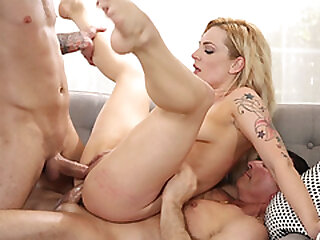 Induce and male lead DP mad about blonde get up to Dahlia Sky