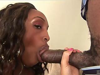 Ebon pricey rides a thick dark rod