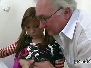 Young schoolgirl seduced by elderly teacher has will not hear of pussy devoured up ahead a hot fuck
