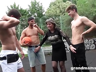 Powered Granny Fucks Basketball Twinks down Sell for succeed in