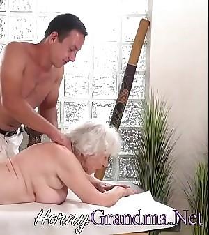 Superannuated granny takes facial
