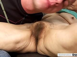 Saggy breasted granny fucks a junior defy