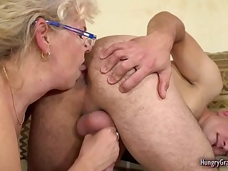 Horny Flaxen-haired Granny Fucked by a Ray