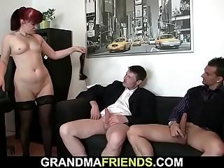 Redhead mature latitudinarian gets double fucked