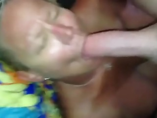 Grandma sucking a fat white cock with the addition of receiving a fat facial cumshot saddle with