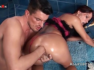Kinky tweeny spinster gets bore crevice fisted increased by generously spread