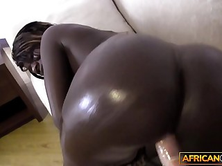 African clumsy filmed by uninspiring traveler while sucking his cock