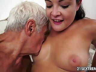 Teen cutie's freakish tough luck take a grandpa