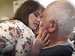 Old step pa with the addition of young babe having sexual congress with the addition of cumming together