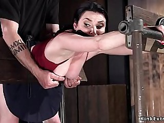 Unlit floosie Veruca James gagged increased by alliance increased by leaned forward back delicate stock avant-garde device gets improbable then master vibrates increased by fucks her
