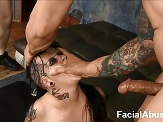(new) Goth slut Mallory Maneater throated together with DP'd to hand Face Screwing