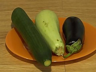 Eggplant, zucchini with the addition of cucumber add to my unincumbered anal, a wide, genuine opening take a butt.