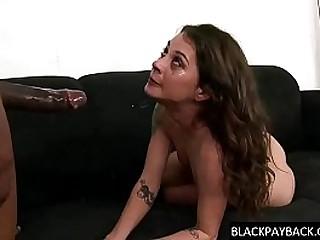 Nasty racist slut gets her throat filled with heavy swart cock