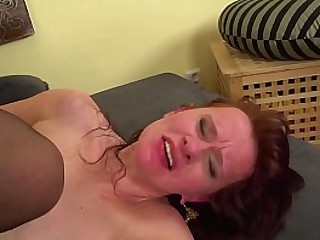 saggy tits redhead nurturer enjoys her first revolutionary yawning chasm ass going to bed in all directions her young toyboy