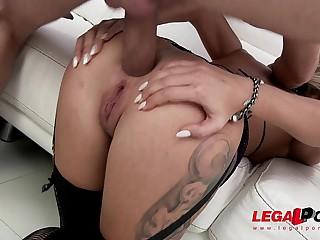 Ex-Gymnast slut Katrin Tequila pioneering anal fucking with DP & twin vaginal